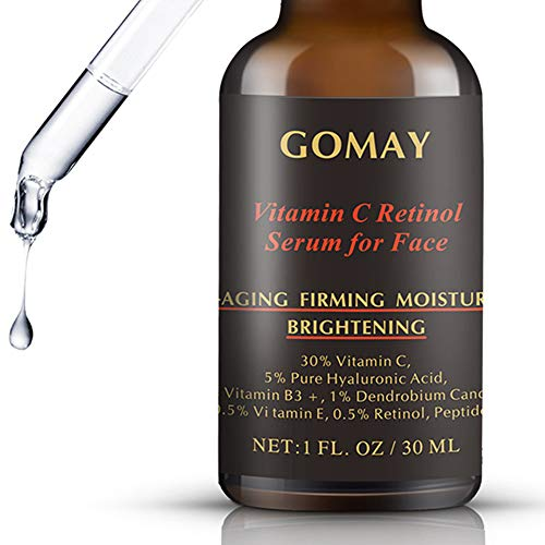 Vitamin C Serum 30% for Face, 0.5% Retinol Pro Serum, 5% Hyaluronic Acid, 3.5% Niacinamide, 1% Dendrobium Candidum, 0.1% Oligopeptide and Vitamin E Antioxidant Serum for Anti-Aging (1 Fl.Oz)