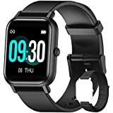 Blackview Smart Watch for Android Phones Compatible with iPhone Samsung, Fitness Watch with Blood Oxygen & Heart Rate Sleep Monitor, 5ATM Waterproof Pedometer, Smart Watches for Men Women (2 Bands