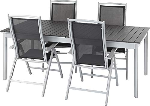 ib style®Polywood Gartengarnitur | Tisch+ 4X Klappstuhl President|pflegeleicht und witterungsbeständig | Tisch: 205-260x100cm