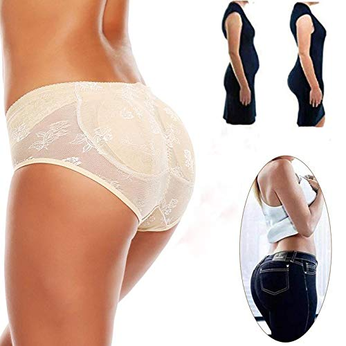 Fashiol Women's Synthetic Seamless Butt Lifter Padded Lace Enhancer Padded Panties (Beige, Free Size Fit Till 34)