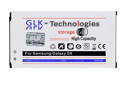 GLK-Technologies® - Batteria originale ad alta potenza da 3000 mAh per Samsung Galaxy S5 EB-BG900BBC EB-BG900BBE 2020!