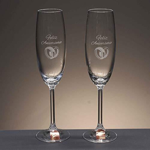 la galaica | Juego de 2 Copas para Champagne o Champán de Cristal | Regalo Ideal...
