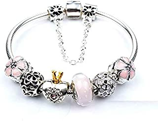 Europe Fashion 925 Silver Dangle Heart Crystal Beads Charms Pandora Elements Bracelet Valentines Gift