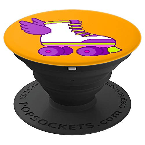 Cute Gamer Girl 8-Bit Roller Skates Video Game Gift Orange PopSockets Grip and Stand for Phones and Tablets