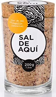 Sal de Aqui Flor de sal con chapulin 200 g