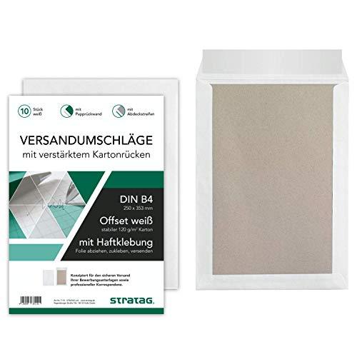10 Stück Premium Versandtaschen B4 in Weiß, mit Papprückwand, Haftklebung und Abdeckstreifen, 250 x 353 mm