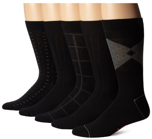 Dockers Men's 5-Pack Classic Dashed Asst. Pattern Dress Crew Socks, Black, Shoe Size: 6-12 Size: 10-13
