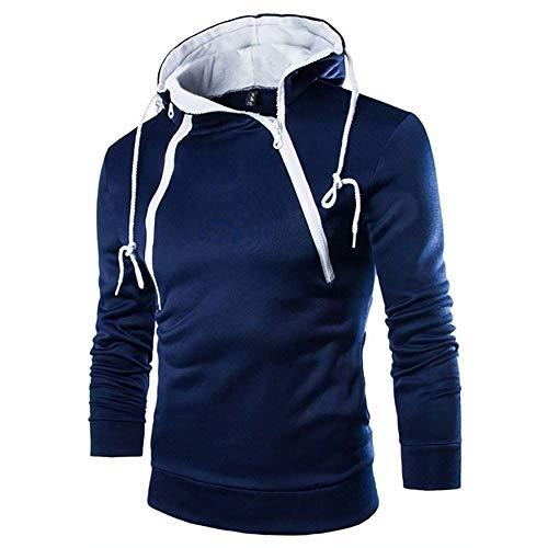 ZHOUJEE Men's Fashion Sweatshirt Placket Double Zipper Half Cardigan Contrast Color Hooded Sweater Novel Coat Navy Blue