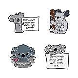 Guardar mi casa Pin de esmalte de dibujos animados Koala Bear Tips Broches Insignia para bolsa Pin de solapa Hebilla Animal Joyería Regalo para amigo-Set