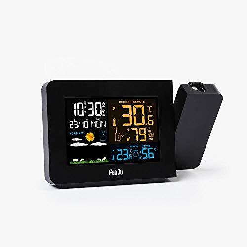 JJIAOJJ Multifunktionale Projektion Wecker, Wetteruhr, Farbbildschirm Wettervorhersage Projektion Elektronische Uhr, Innen- und Außentemperatur und Luftfeuchtigkeit