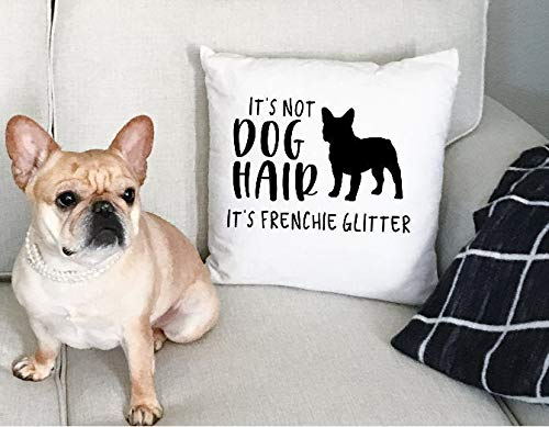 Wini2342ckey It's Not Dog Hair It's Frenchie Glitter Decor Pillow Cover, French Bulldog, Dog Home Decor, Pet Friendly, Decorative Pillow Cover, Frenchie