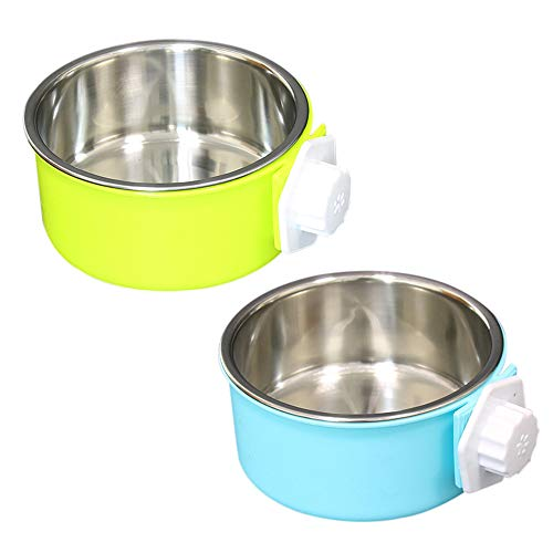 SLSON Pet Crate Bowls 2 Pack Dog Cage Hanging Bowl Removable Double Feeding Bowls for Pet Stainless Steel and Plastic Feeders for Dogs Cats Small Animals, Blue and Green