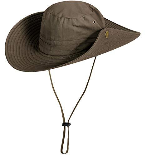 Chapeau de Soleil Protection UV Casquette d'été à Large Bord Casquette de Protection Solaire Unisexe pour Les Voyages en Plein air Camping pêche randonnée, Kaki