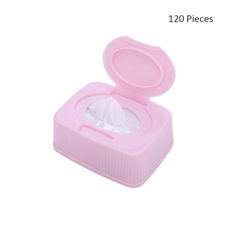 ヒョウ禁止するスープ120ピース/ボックスフェイスメイク落としフェイシャル化粧品リムーバーパッドメイクアップコットンクリーナースキンケアワイプフェイスウォッシュコットンパッド (Color : Pink, サイズ : 120 pieces)