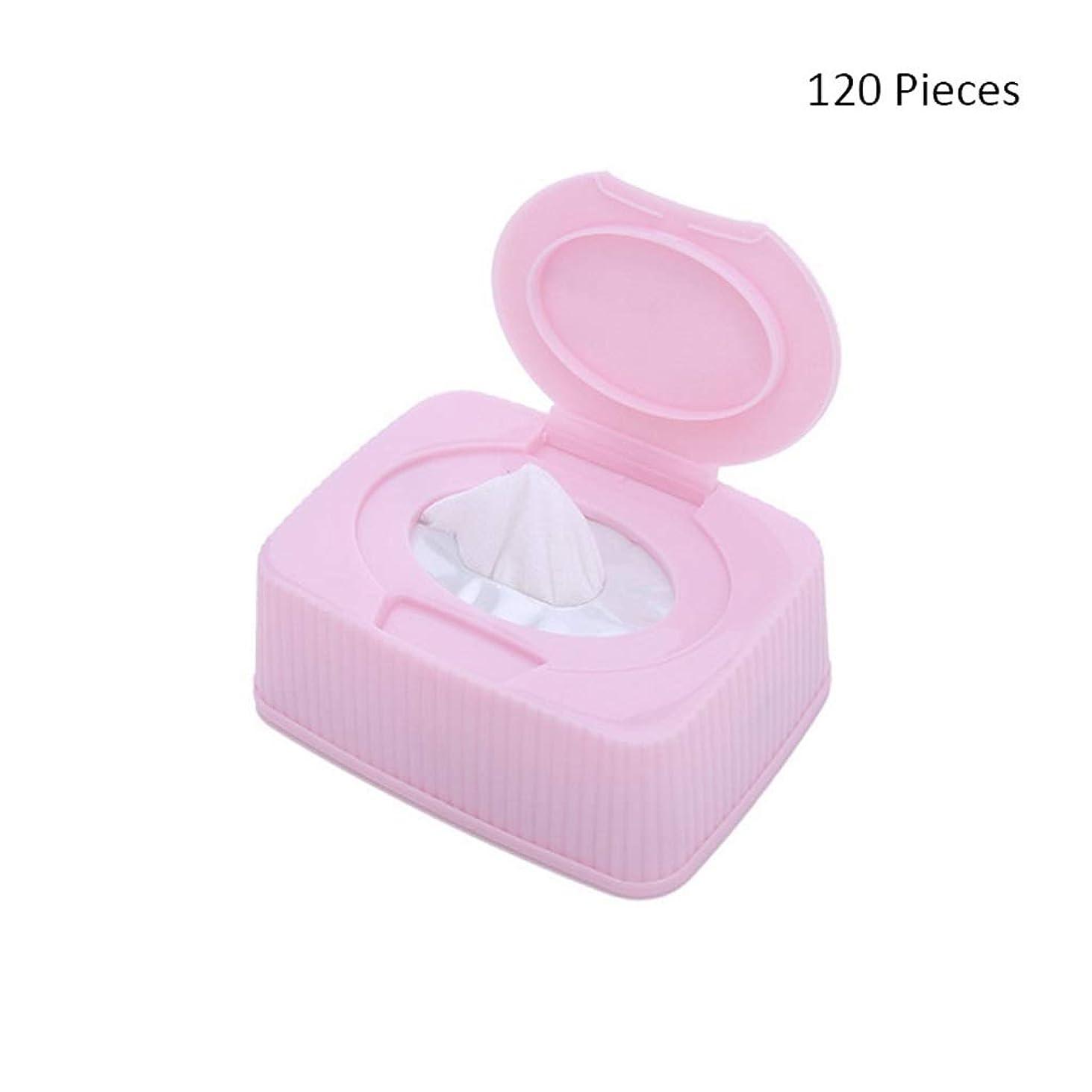 口ペリスコープ番号120ピース/ボックスフェイスメイク落としフェイシャル化粧品リムーバーパッドメイクアップコットンクリーナースキンケアワイプフェイスウォッシュコットンパッド (Color : Pink, サイズ : 120 pieces)