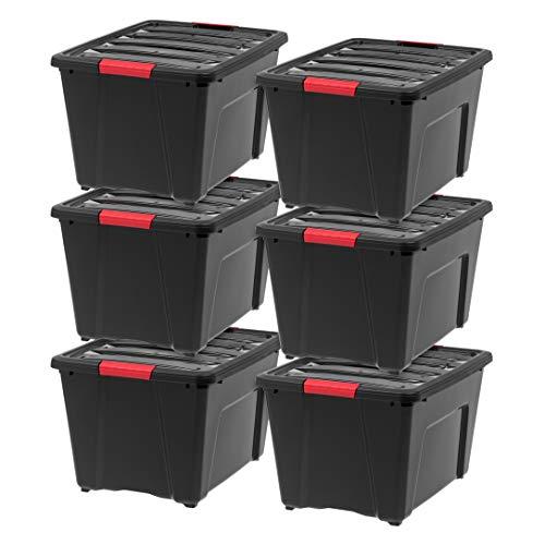 IRIS USA 588339 TB-56D Stack & Pull Storage Box, 53 Quart, Black