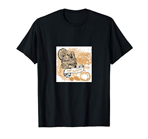 Happy Cornucopia Turkey Pumpkin Harvest T-Shirt