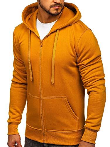 BOLF Herren Kapuzenpullover Sweatjacke Hoodie Sweatshirt mit Kapuze Reißverschluss Basic Einfarbig Fitness Training Sport Style J.Style 2008 Camel XL [1A]