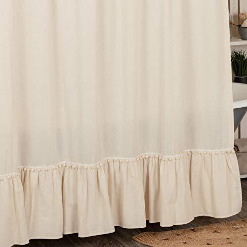 "Olivia Ruffled Shower Curtain w/ Macrame Pompom Trim, 72"", x 72"", Natural Cream Linen/Cotton Bathroom Curtain, Boho, Modern Country, Vintage Cottage, Farmhouse Style"