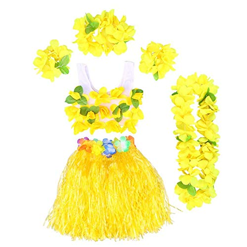 mezly 6Pcs Hawaii Tropical Hula Grass Dance Skirt Kids Flower Leis Bracelets Headband Necklace Bra Set Hawaiian Party Costume- Flower Crown- Wall Decor-Yellow