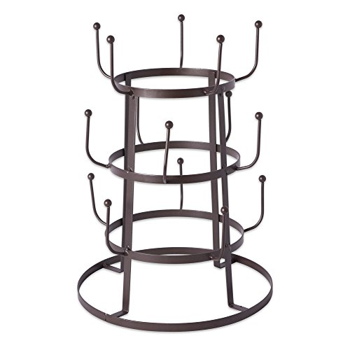 DII 5464 3 Tier Countertop or Pantry Vintage Metal Wire Tree Stand for Coffee Glasses and Cups 15 Mug Capacity Rustic Bronze
