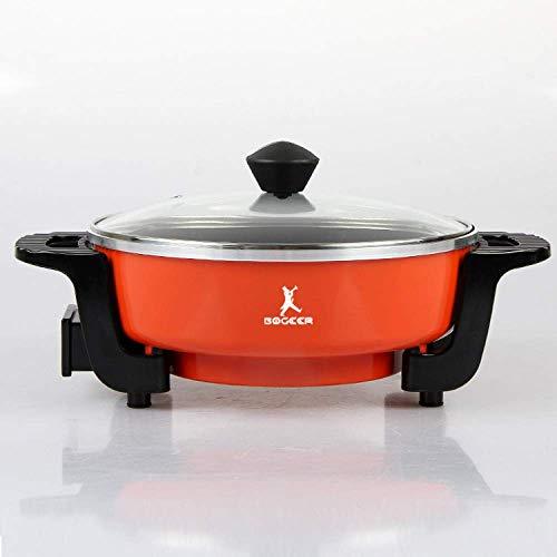 Fondue Hot Pot Elektrische grill, modern, met anti-aanbaklaag, multifunctioneel, elektrisch, rookvrij, van keramiek, intelligente oven, grote capaciteit, friet, grill, geel Red