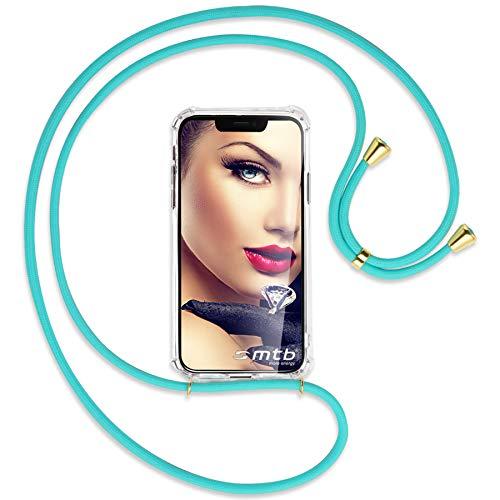 mtb more energy® Collar Smartphone para Xiaomi Mi Note 10, Note 10 Pro (6.47'') - Turquesa/Oro - Funda Protectora ponible - Carcasa Anti Shock con Cuerda