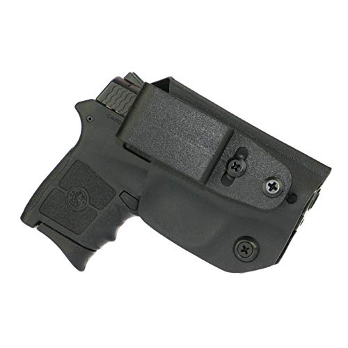 FoxX Holsters Deluxe Trapp Kydex IWB Holster - Smith & Wesson M&P Bodyguard .380 -No Laser Our Smallest Inside Waistband Holster Adjustable Cant & Retention, Conceal Carry (Black)
