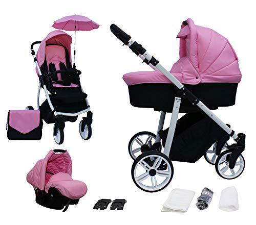 Skyline 3in1 Kombi Kinderwagen mit einem Aluminium Gestell, Babywanne, Sport Buggyaufsatz und Babyschale (ISOFIX) (Pink)