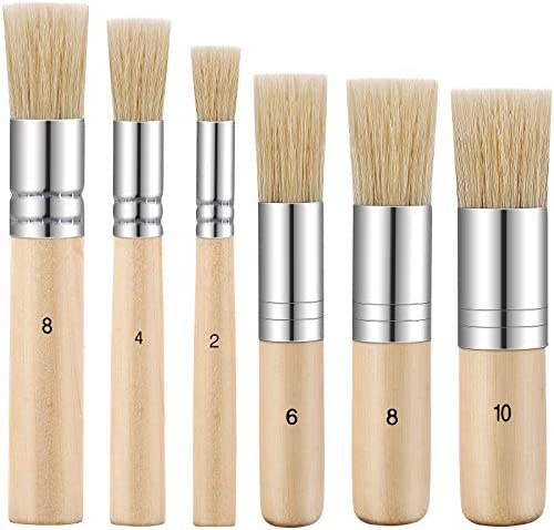 6 Pieces Wooden Stencil Brushes Pure Natural Bristle Template Paint Brushes Painting Bristle product image
