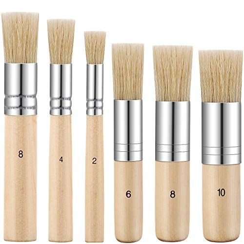 6 Pieces Wooden Stencil Brushes Pure Natural Bristle Template Paint Brushes Painting Bristle Brushes for Acrylic Oil Watercolor Art Painting Stencil Project DIY Crafts, 6 Sizes