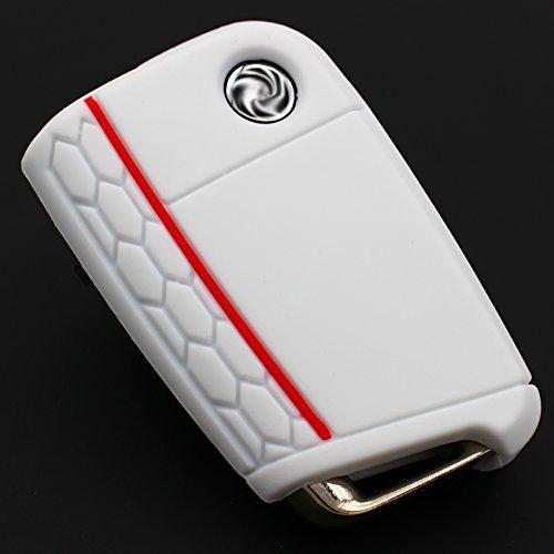 Funda para llave VB para tres botones, cubierta de silicona para llave de coche - Finest-Folia, estuche, protector de llave.  rojo y blanco