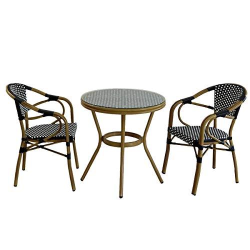ガーデンテーブル チェア 3点セット 丸型 ガラス 屋外 カフェ 人工ラタン アルミ ブラック