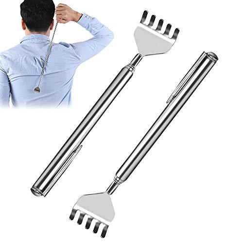 Rascador de espalda telescópico de acero inoxidable, rascador de espalda de metal, extensible, masajeador de mano para rascar la espalda y la cabeza, 2 unidades