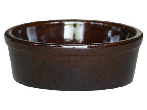 K&K Hunde Futterschale V = 3,8 Liter braun 28x11 cm aus schwerer Steinzeug-Keramik