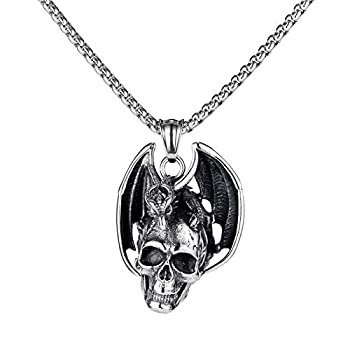 Feilong 22inch Mens Stainless Steel Necklace,Gothic Mens Necklaces & Pendants Dragon and Skull Necklace for Men Birthday Gifts for Men