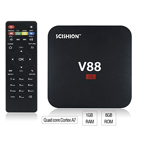 AMGUR V88 4 K Android 7.1.2 TV Box RK3229 Quad Core 1 GB/8 GB Smart TV Box Soporte 3D Película HD 1080 p WiFi H.265 TV Box Home Media