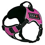Dogline Quest No-Pull Dog Harness with 3D Rubber ESA Removable Patches Reflective Soft Comfortable Dog Vest with Quick Release Dual Buckles Black Hardware and Handle 18 to 22 inches Pink