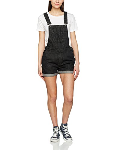 Urban Classics Damen Ladies Short Dungaree Latzhose, Schwarz (Black Washed 709), Small