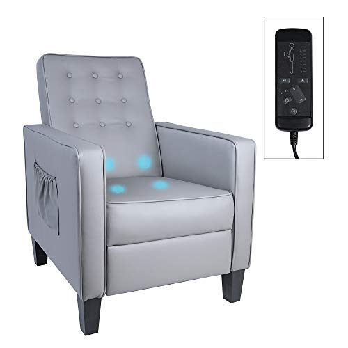 MU Single Recliner Reading Chair Ergonomic Padded Seat Massage PU Leather for Living Room Small Chairs Modern Recliner Sofa with Footrest for Home Theater, Bedroom, Grey