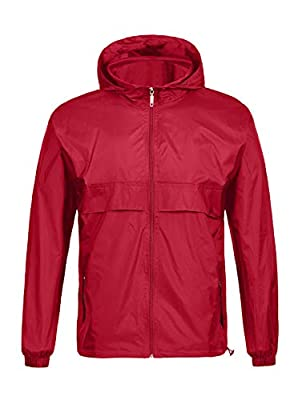 SWISSWELL Men's Lightweight Rain Jacket Waterproof Hooded Rainwear (2XL, Red)