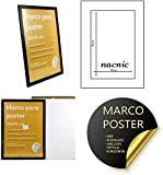 Nacnic Conjunto de 6 Marcos Negros tamaño 50x70cm. Marco Negro para Fotos, Posters, Diplomas con plexiglas y Anclajes para Colgar.