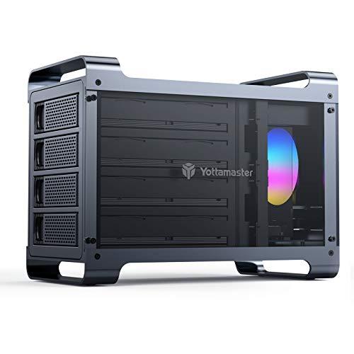 "Yottamaster 4 Bay RAID External Hard Drive Enclosure 2.5""&3.5"" SATA HDD/SSD Enclosure with 80mm RGB Silent Fan,Supports 64TB Max and RAID 0/1/3/5/10/Span/Clone/Normal RAID Modes - [DF4RU3]"