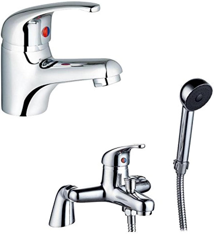 Euro Style Bath Mixer Tap + Shower & Single Lever Basin Mixer Tap (Zero 4b1)