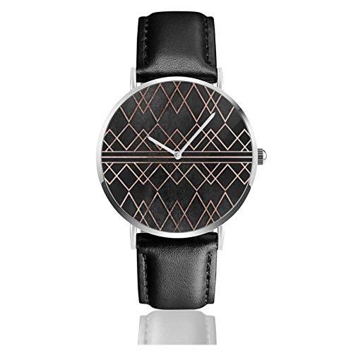 Elegante y elegante imitación oro rosa triángulos geométricos clásico reloj de cuarzo casual de acero inoxidable correa de cuero negro relojes de pulsera