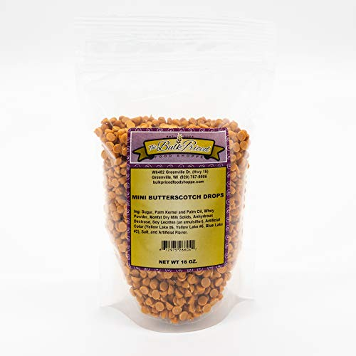 Mini Butterscotch Drops, Bulk Size, Baking Chips (1 lb. Resealable Zip Lock Stand Up Bag)