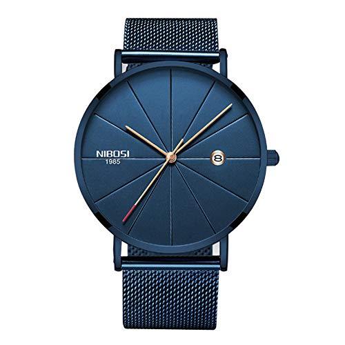 NIBOSI Analogue Men's Watch (Black Dial Blue Colored Strap)