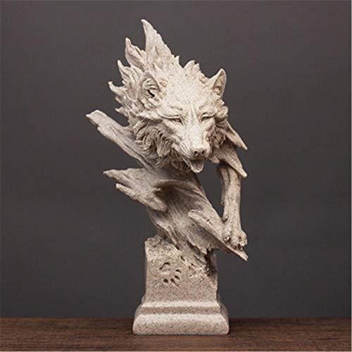 GSAG Cabeza De Lobo Creativo Escultura Abstracta Artesanías Adornos Retro Oficina Sala De Estar Mueble De TV Gabinete De Vino Decoración De Arte Muebles Estatua