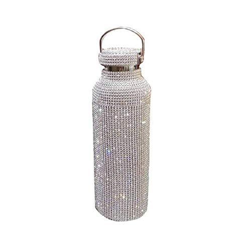 puhuoqi Taza Termo Termo De Diamante, Botella Aislada De Alta Gama Botella De Agua Termo Plateada De Diamantes De Imitación Brillante con Tapa Taza De Agua (500ml)
