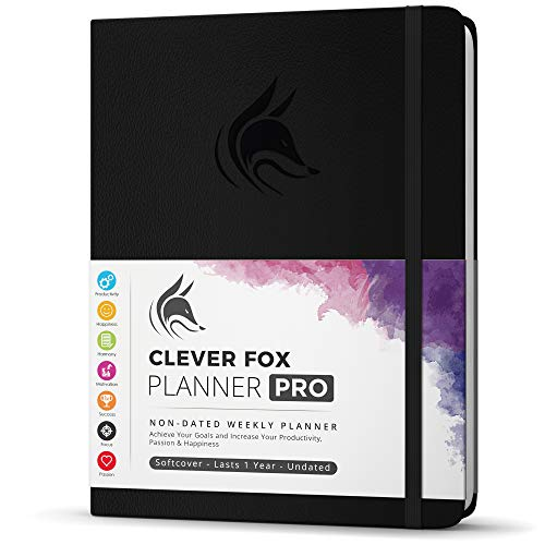 "Clever Fox Planner PRO - Weekly & Monthly Life Planner to Increase Productivity, Time Management and Hit Your Goals - Organizer, Gratitude Journal - Undated - 8.5 x 11"" - Lasts 1 Year (Black)"